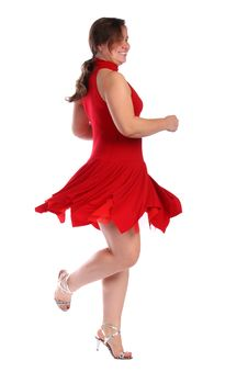 Free Chubby Girl In Red Dress Dancing Stock Image - 18227051