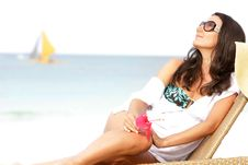 Free Young Attractive Woman On Beach Stock Image - 18227101