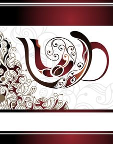 Free Vector Floral  Illustration Of Coffee Cup Design Royalty Free Stock Images - 18227369