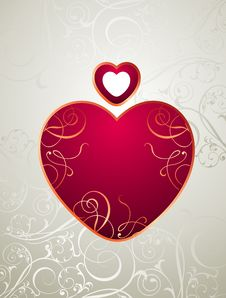 Free Vector Valentine Background With Floral Heart Royalty Free Stock Photos - 18227488