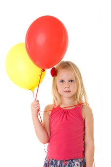 Free Little Girl With Baloons Royalty Free Stock Image - 18227536