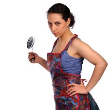 Free Young Housewife With Ladle. Stock Photos - 18227803