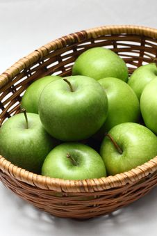 Free Basket Of Green Apples Stock Photography - 18227822