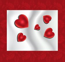 Free Red Hearts On The Silk Background Royalty Free Stock Photography - 18228237