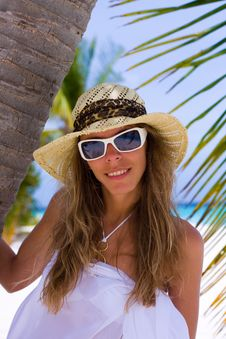 Free Young Woman On A Tropical Beach Stock Image - 18228431