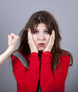 Free Sad Girl In Red And Hand Fist. Stock Photography - 18234312