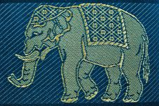 Free PATTERN THAI SILK  BIG BLUE ELEPHANT Royalty Free Stock Images - 18230909