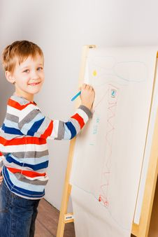 A Boy Draws Crayons Stock Photography