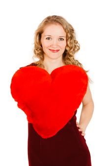 Free Woman With A Red Heart On A White Background Stock Photography - 18231052