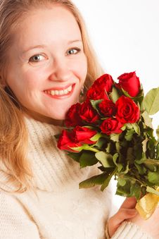Free Woman With The Bouquet Of Red Roses Royalty Free Stock Photos - 18231088