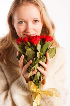 Free Woman With The Bouquet Of Red Roses Stock Photo - 18231100