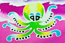 SQUID PATTERN ON BATIK Royalty Free Stock Photo