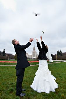 Happy Bride And Groom And Pigeons Royalty Free Stock Photo