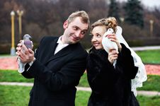 Free Bride And Groom With Pigeons On Hands Royalty Free Stock Photos - 18232258
