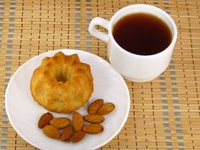 Tea And Almond Cake Stock Image