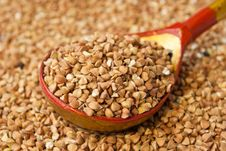Buckwheat In Hohloma Spoon Stock Photo