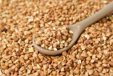 Part Of Spoon With Buckwheat Royalty Free Stock Image