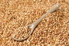 Spoon Of Buckwheat Stock Photo