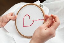 Free Heart Embroidery Royalty Free Stock Photography - 18232577