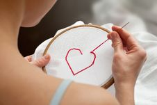Free Heart Embroidery Royalty Free Stock Photography - 18232587