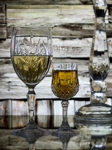 Free Wine Glasses And Cabin Wall Background Stock Photos - 18232893