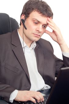 Businessman With Headset Royalty Free Stock Image