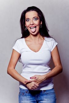 Free Beautiful Crazy Brunette Girl Royalty Free Stock Photography - 18233447