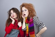 Two Funny Girls. Royalty Free Stock Photo