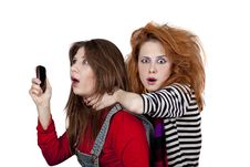 Two Funny Girls. Royalty Free Stock Image