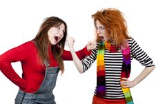 Free Two Funny Angry Girls. Stock Images - 18234244