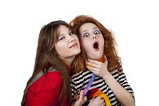 Free Two Funny Angry Girls. Royalty Free Stock Photo - 18234255