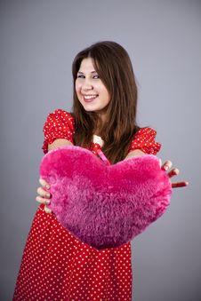 Free Beautiful Girl With Heart Stock Image - 18234431