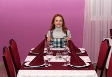 Free Beautiful Girl In A Restaurant Royalty Free Stock Photo - 18234515
