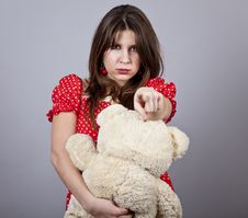 Funny Girl With Teddy Bear