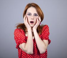 Free Surprised Girl In Red. Stock Image - 18234531