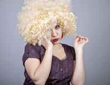 Free Funny Girl In Wig. Royalty Free Stock Photo - 18234605
