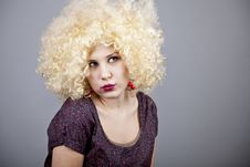 Free Funny Girl In Wig. Stock Image - 18234651