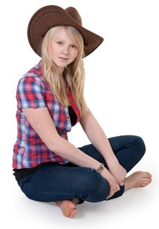 Free Beautiful Girl In A Cowboy Hat Royalty Free Stock Photography - 18234817