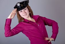 Free Girl In Cap. Royalty Free Stock Photos - 18234998