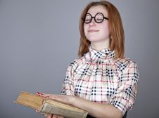 Funny Girl With Books. Royalty Free Stock Image