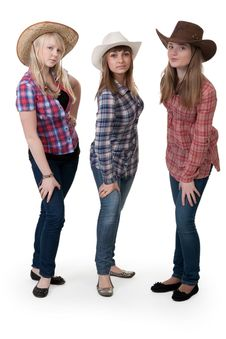 Three Girls In Hats Stock Images