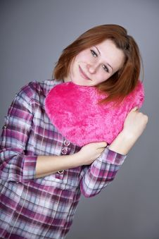 Free Red-haired Girl With Heart Toy. Royalty Free Stock Photography - 18235167