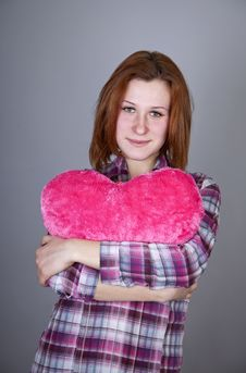 Free Red-haired Girl With Heart Toy. Royalty Free Stock Photo - 18235185