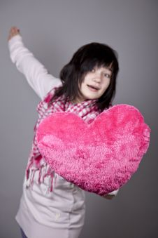 Funny Girl With Toy Heart. Royalty Free Stock Images