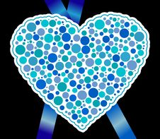 Free Blue Heart And Ribbon Royalty Free Stock Photo - 18235725