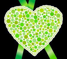 Free Green Heart And Ribbon Royalty Free Stock Photo - 18235735