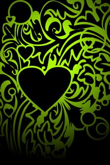 Free Green Ornament And Heart On Black Stock Images - 18235744