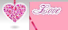 Pink Heart, Ribbon And Paper Royalty Free Stock Photos