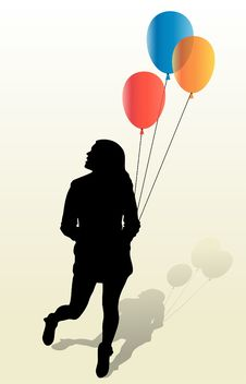 Free Girly Silhouette And Ballons Stock Photos - 18235773