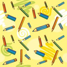 Free Colored Pencils On A Yellow Background. Seamless T Royalty Free Stock Photos - 18236008